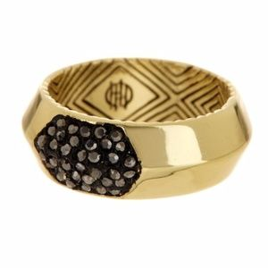 House of Harlow 1960 Pave Hematite Inset Ring - 6